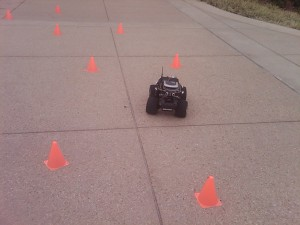 Robot navigating between cones