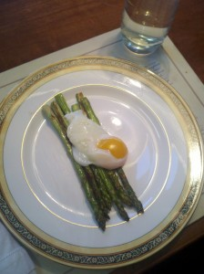 Sous vide egg over asparagus